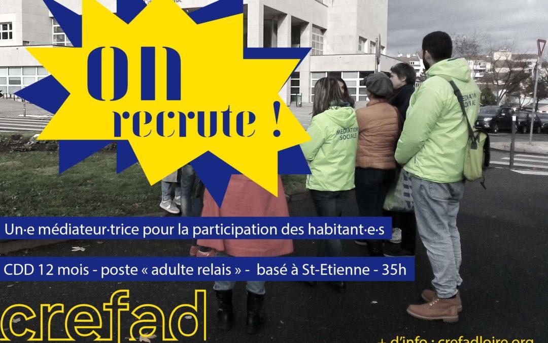 Le Crefad Loire recrute un·e H/F médiateur·trice pour la participation des habitant·e·s